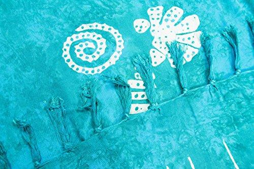 ManuMar Damen Sarong | Pareo Strandtuch | Leichtes Wickeltuch mit Fransen-Quasten 155x115cm oder 225x115cm, Motive und Farben Türkis Muschel