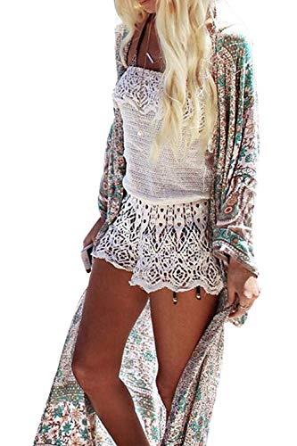 Uniquestyle Damen Sommer Kimono Cardigan Strand Chiffon Bluse Tops Boho Bikini Cover Up Floral One Size -