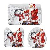happy event Christmas 3ST Fancy Santa Toilettensitzbezug und Teppich Badezimmer Set Weihnachtsdekor | 3pcs Christmas Suction Grip Bath Mat Bathroom Kitchen Carpet Doormats Decor