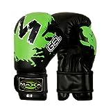 MAX Sports Ltd Kids Rex-Guantes de Boxeo para niño (Piel-8oz Blk/Verde