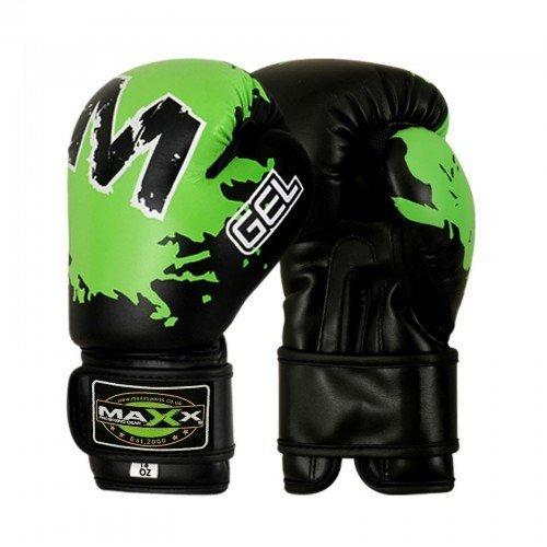 maxx-kids-junior-boxing-gloves-rex-leather-4oz-8oz-blk-green-8oz