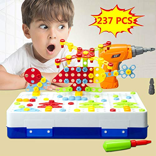 Drill Design Puzzle Creative Toys - Electric Drill Screwdriver Play Tool Building 2D 3D Models Blocks Assembly DIY STEM Educational Construction Set 237 Pieces Kit With Storage Box For Children Kids