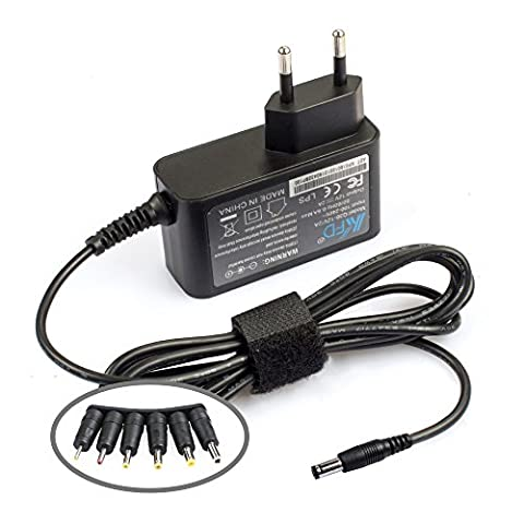 KFD Ladegerät Universal AC DC Netzteil 12V 2A Adapter für Fritzbox / western digital Iomega Medion Logilink / Externe Festplatten Gehäuse / Dockingstation / Bose Soundlink Mini Colour Mini 2 Bluetooth Speaker / Radiowecker / Verbatim / Seagate / Speedport / LED Leiste Strips SMD RGB / Fax / Drucker / Scanner mit 6 Stecker (2000mA Steckernetzteil)