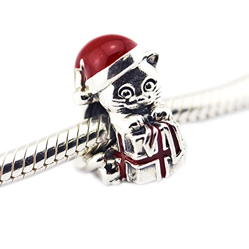 Cooltaste christmas gfits diy europea gattino gatto diy fit per originale pandora charm in argento 925 bracciali moda gioielli