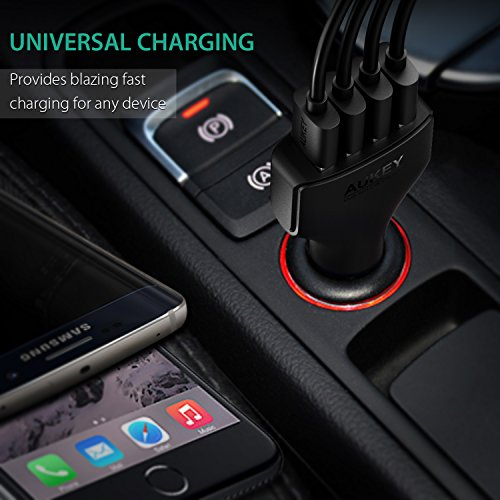AUKEY Quick Charge 3.0 Cargador de Coche 4 Puertos USB para Samsung Galaxy S8, iPad Air/Pro, iPhone, LG, HTC y más