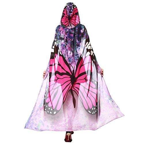 OVERDOSE Faschingskostüme Damen 145 * 65CM Frauen Weiche Gewebe Schmetterlings Flügel Schal feenhafte Damen Nymphe Pixie Kostüm Zusatz halloween Cosplay Weihnachten Kostüm (140 * 100CM, R-Hot Pink) (Butterfly Pink Halloween-kostüm)