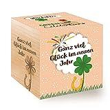 Feel Green Green Celebrations Ecocube, Glücksklee-NJ, Holzwürfel Mit Hochwertiger Lasergravur Ganz Viel Glück Im Neuen Jahr, Nachhaltige Geschenkidee, 100% Eco Friendly, Anzuchtset, Made in Austria
