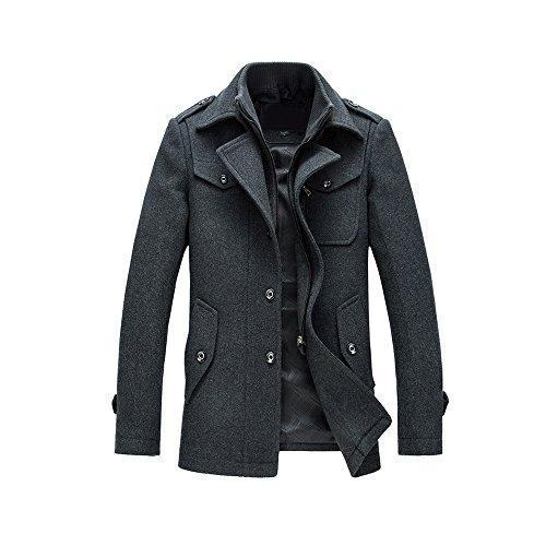 Manteau Homme Laine Hiver Chaud Trench-Coat Caban élégant Blouson Parka Veste Slim Fit Casual Coat