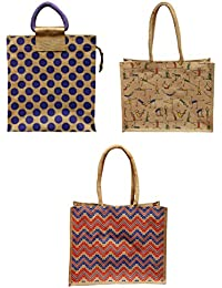 ARIHANT MARKETING Jute Lunch Bags Colour May Vary Reusable (AM002-003-004, Pack Of 3)