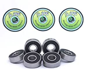 8 x TITANIUM SLIME - ABEC 9 608 RS Water Resistant Rubber Seal Skateboard / Stunt Scooter / Inline Skate Bearings ** FREE Slime Sticker **