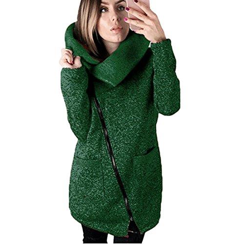 Damen Strickjacke Xinan Herbst Winter Hooded Coat Long Zipper Pullover Outwear Mantel (S, ❤️ Grün) (Stricken Herren-pyjama)