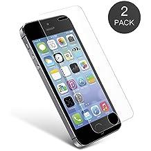 Cristal Templado iPhone 5S 5C 5 SE, vontox Protector Pantalla iPhone 5S 5C 5 SE, Protector Cristal Vidrio Templado para iPhone 5 5s 5c SE, Ultra Resistente a Golpes y Rayado, Alta Transparencia, Sin burbujas (2 Pack)
