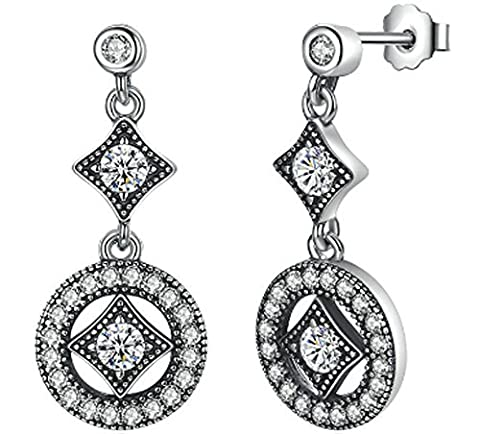 SaySure - 925 Sterling Silver Vintage Allure Hanging Dangle Earrings