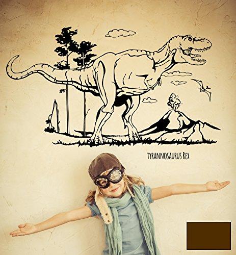 (Wandtattoo Wandaufkleber Dino Saurier Dinosaurier T-Rex Tyrannosaurus Rex M1594 - ausgewählte Farbe: *Schokobraun* - ausgewählte Größe: L - 120cm breit x 73cm hoch)