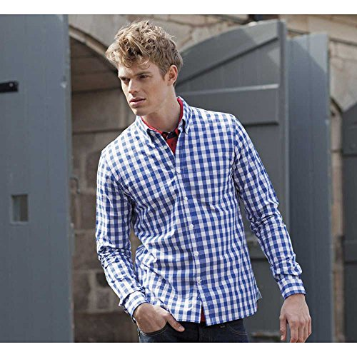 Front Row Mens Slim Fit Comfortable Checked Smart Casual Cotton Shirt Blue Check