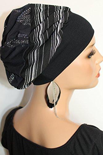mütze Schwarz Silber Lurex Streifen Ranken little things in life Chemo Cap Hat Chemomütze Mütze bei Krebs Kopfbedeckung Turban (Glatze Hats)