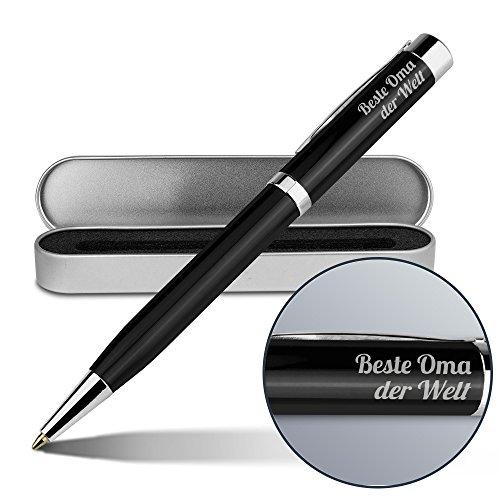 Kugelschreiber mit Namen Beste Oma der Welt - Gravierter Metall-Kugelschreiber von Ritter inkl. Metall-Geschenkdose