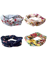 Drishti Printed Elastic Fabric Wrap Plaid Knot Headbands for Women, 3 Pieces (Random Selected Color And Design)