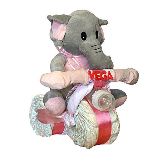 Tarta de pañales Dodot - Moto Elefanta rosa - Bebé recién nacido - Mil Cestas