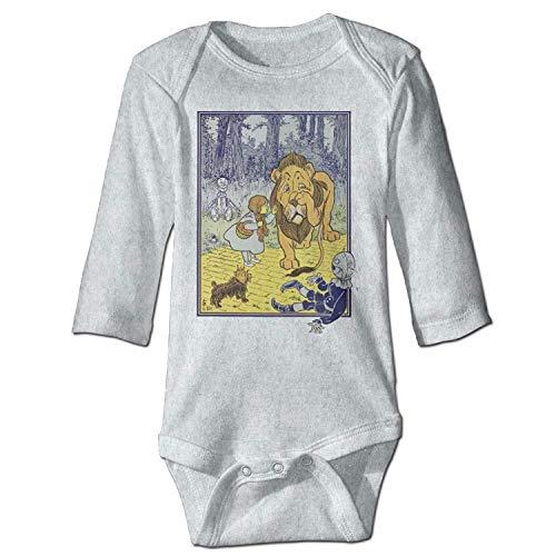 MSGDF Unisex Newborn Bodysuits Cowardly Lion Vintage Illustration Girls Babysuit Long Sleeve Jumpsuit Sunsuit Outfit Ash