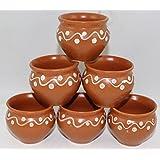 Odishabazaar Brown Ceramic Kulhad Cups Set Of 6 - For Kitchen/Dinning Set/Mugs/ Ethnic Tea Coffee Mugs/Gift Items