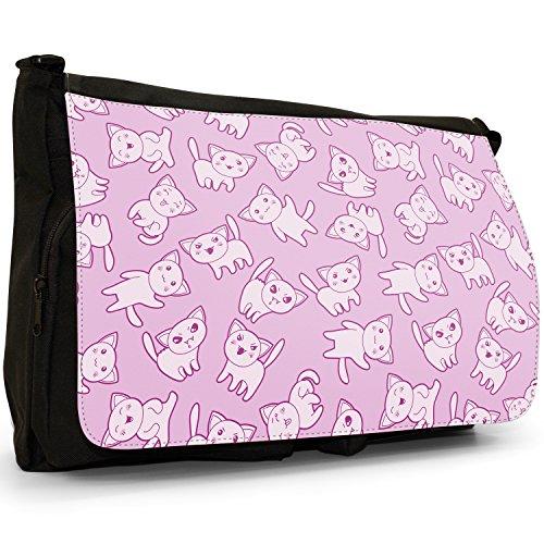 Kawaii Cupcake caramelle teschi Cuori Gatti Grande borsa a tracolla Messenger Tela Nera, scuola/Borsa Per Laptop Kawaii Cute Fang Cats Kittens