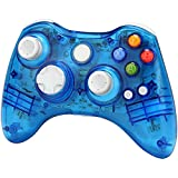 Xbox 360 wireless controller,Uniway XC03 transparent Xbox controller wireless PC Gamepad with LED-Blue