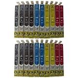 ESMOnline Lot de 20 cartouches pour imprimante Epson Stylus s22 sx125 sx130 sx235 sx235W sx420 sx420W sx425 sx425W sx430 sx430W sx435 sx435W sx440 sx440W / Epson Stylus sx 125 130 235 420 425 430 435 440 / Epson Office BX305 F FW Remplace les modèles 1281 1282 1283 1284 1285 / 8 x noir, 4 x bleu, 4 x rouge et 4 x jaune