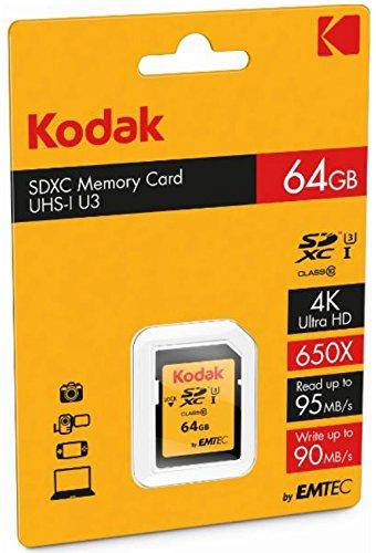 Kodak SDXC 64GB Class10 U3 64GB SDXC UHS-I Klasse 10 Speicherkarte - Speicherkarten (64 GB, SDXC, Klasse 10, UHS-I, 95 MB/s, Schwarz)