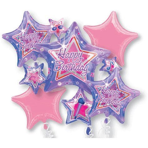 Rock Star Birthday Bouquet Of Balloons (5 per package) by National Party Supply (Star Rock Birthday Party)