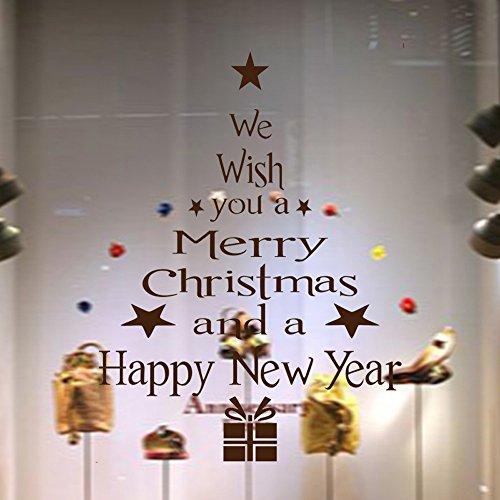 Frohe Weihnachten Wandaufkleber, Weihnachtsbaum Abnehmbare Vinyl Kunst Wandaufkleber Fenster Tür Startseite Decals Decor Dekoration, 43x24 cm (Weihnachtsbaum, ()