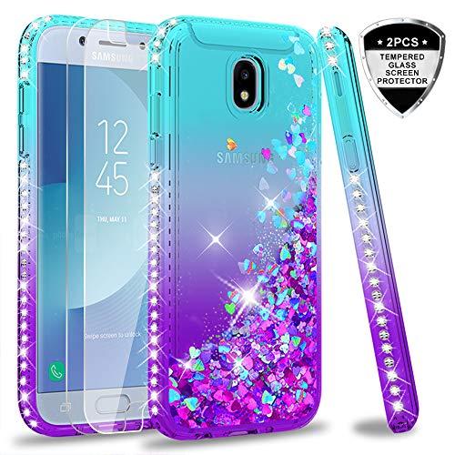LeYi Hülle Galaxy J5 2017 Glitzer Handyhülle mit Panzerglas Schutzfolie(2 Stück),Cover Diamond Rhinestone Schutzhülle für Case Samsung J5 2017 Pro Duos Handy Hüllen ZX Gradient Turquoise Purple -