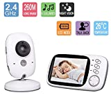 Babyphone Wireless Video Baby Monitor Kamera 3.2 Zoll LCD Display Gegensprech Nachtsicht Temperatursensor Eingebautes 8Wiegenlied(Temperatursensor,Nachtsicht, Gegensprechfunktion,weiß)