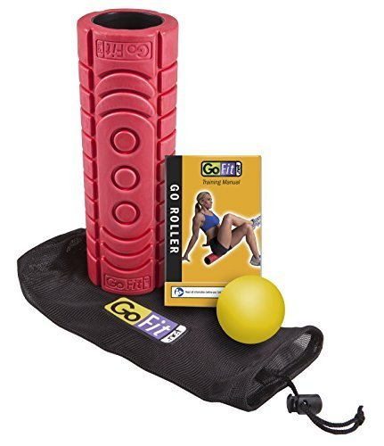 ge Roller with Myofascial Release Ball, Mesh Carry Bag and Exercise manuell, Red by GoFit L.L.C. (Go Fit Massage-ball)