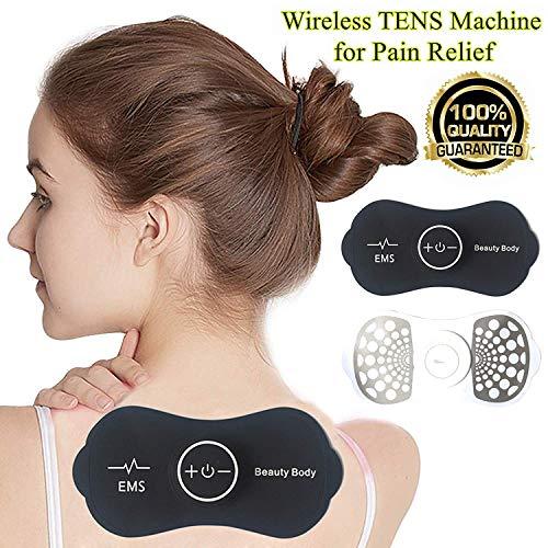 Schnurlose Tens Gerät Schmerztherapie, TENS/EMS Elektrostimulationsgerät Tragbares Massagegerät Elektrischer Puls Massage Mini Tens Massagegerät zur Schmerzlinderung für Hals, Schulter, Ellbogen Usw