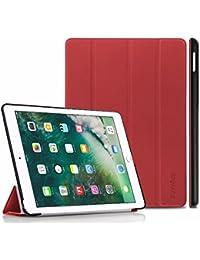 iPad 9.7 2017 Hülle, EasyAcc Ultra Dünn iPad 9.7 Zoll 2017 Smart Cover mit Automatischem Schlaf Funktion und Standfunktion - Hochwertiges PU Leder Hülle (Red, Kunstleder, Ultra Dünn)