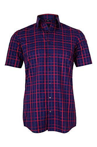 Eterna camicia classiche - con bottoni - uomo rosso/blu 47