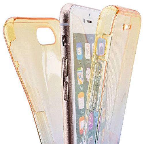 SMART LEGEND iPhone 6 Plus/ iPhone 6S Plus Weiche Silikon Hülle Double Touch Case Komplette 360°Grad Vorne Hinten Beidseitiger Schutz Transparent Full Body Handytasche Front Back Doppelseitig Bumper H Gelb und Blau