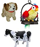 #10: PLAY DESIGN BABY MUSICAL TOY COMBO JUMPING DOG, TALKING PARROT AND WALKING MILK COW (Multicolor)
