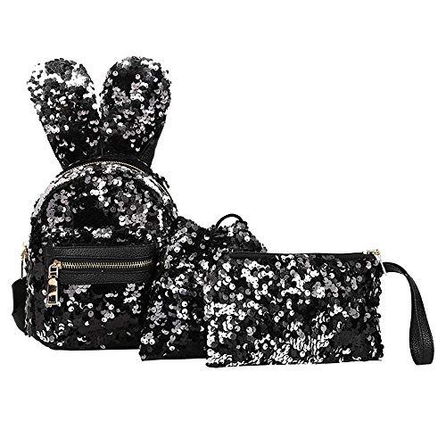 MOIKA Mode Student Kinder Pailletten Rucksäcke, Reise Wandern Daypacks für Kindergarten, Rucksäcke + Kordelzugbeutel Tasche + Messenger Bag 3Pcs