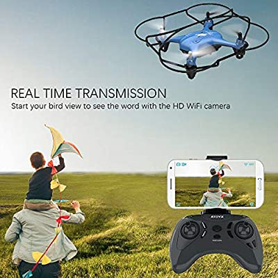 ATOYX AT-96 FPV Mini Drone, RC Quadcopter HD Wi-Fi Camera Live Video with Altitude Hold Function Headless Mode 3D Flips One Key Take Off/Landing Easy Operate for Kids Beginners