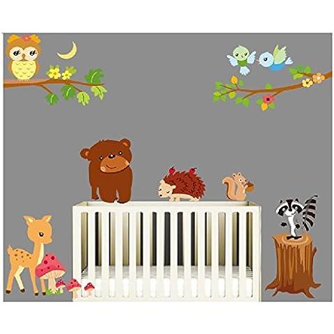 Adhesivos de pared de dibujos animados mundo animal, oso erizo Ardilla Ciervos y Búhos, habitación de los niños guardería extraíble pegatinas de pared
