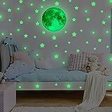 FESKIN 3 Pièces Étoiles d'ange Autocollant Mural lumineux dans l'obscurité, Interrupteur Décorations Chambre de bébé Stickers