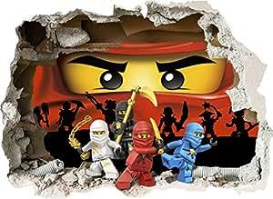 Lego 3d wandtattoo rot ninjago zerst rten wand modell lwrn 74 cm x 56 cm k che - Lego wandtattoo ...