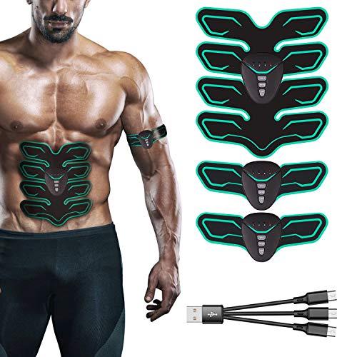 FYLINA Muskelstimulation Elektrostimulation EMS Trainingsgerät Professionelle USB Muskelstimulator Elektrische Bauchmuskeltrainer Elektrostimulatoren für Damen Herren(8 Pads) (Grün) (Machine Abs Workout)