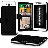 Aventus (Kohlenstoff-Faser) Samsung Galaxy Grand Prime Duos TV Premium-PU-Leder Universal Hülle Spring Clamp-Mappen-Kasten mit Kamera Slide, Karten-Slot-Halter und Banknoten Taschen