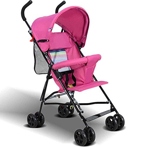 Baby Folding Buggy Outdoor Travel Lightweight Portable Kinderwagen Steel Four Wheel Kinderwagen für 1-36 Monate , pink