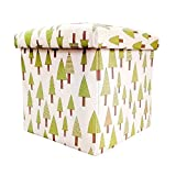 #2: Sterling Foldable Cotton Ottoman Storage Box Cum Stool - with Little Tree Pattern Foldable Stool