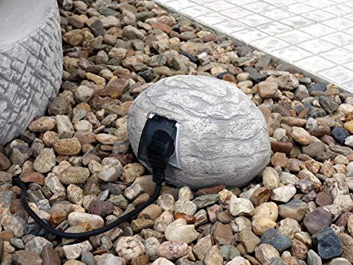 gartendekoparadies.de Dekoratives Gehäuse für Stromanschluss Steckdose Stromabdeckung für Aussenbereich Steinguss frostfest