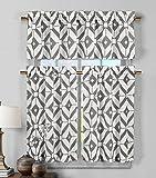 3Stück Semi Sheer Fenster Vorhang Set: geometrischem Design, 2Ebenen, 1Querbehang, Polyester-Mischgewebe, Grau / Weiß, 1 valance 56